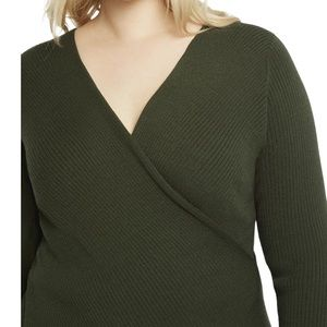 Eloquii Ribbed Cross Front Sweater NEW